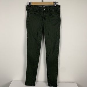 American Eagle forest green super stretch jegging
